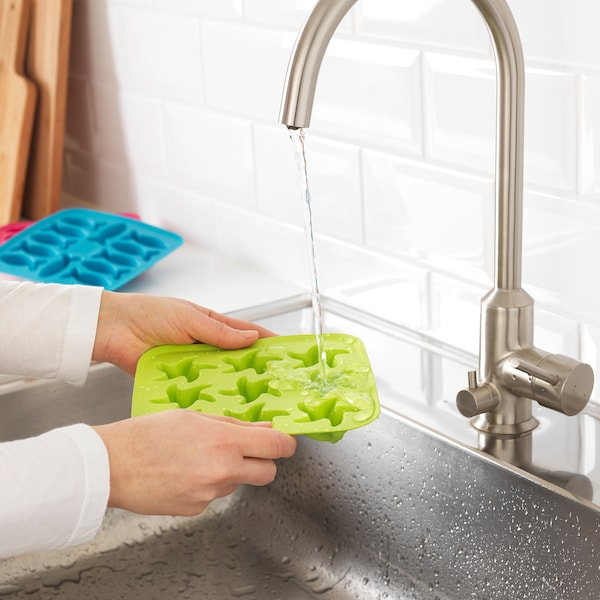 PLASTIS Ice cube tray, green/pink/turquoise