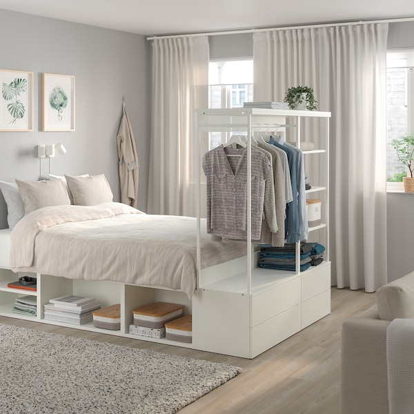 PLATSA Bed frame with 4 drawers, white/Fonnes, 140x244x163 cm