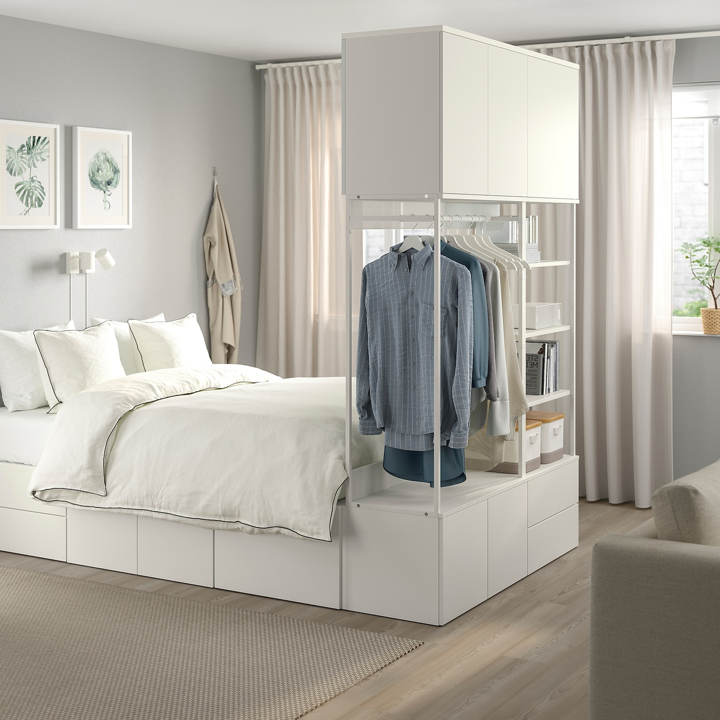 PLATSA Bed frame with 8 door+4 drawers - white, Fonnes - IKEA