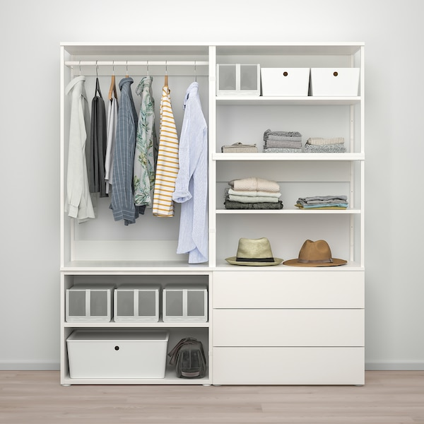 PLATSA Wardrobe with 2 doors+3 drawers, white/Fonnes white, 160x42x181 cm