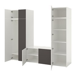 PLATSA wardrobe with 8 doors, white, Skatval dark grey