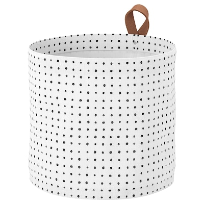 PLUMSA Storage basket, white/black, 11 l