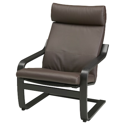 POÄNG Armchair, black-brown/Glose dark brown