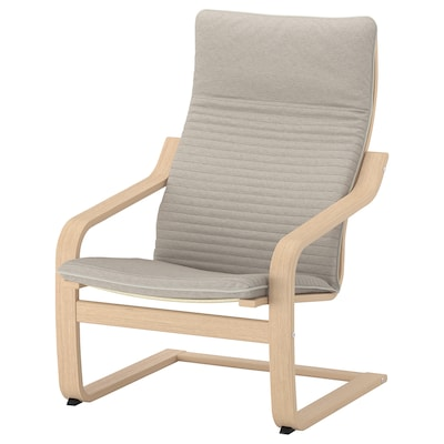 POÄNG Armchair, white stained oak veneer/Knisa light beige
