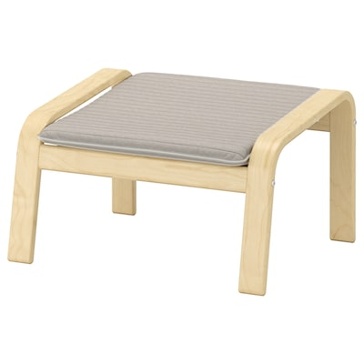 POÄNG Footstool, birch veneer/Knisa light beige