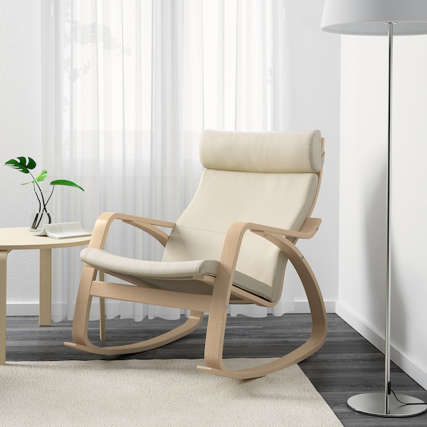 POÄNG Rocking-chair, birch veneer/Glose eggshell