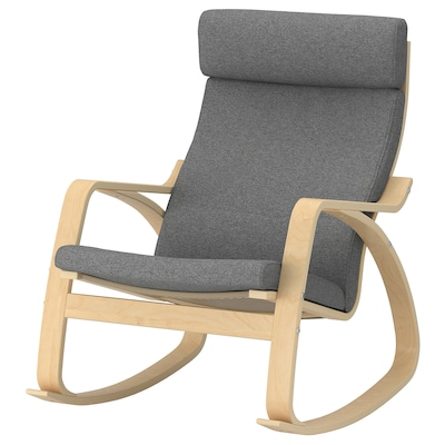 POÄNG Rocking-chair, birch veneer/Lysed grey