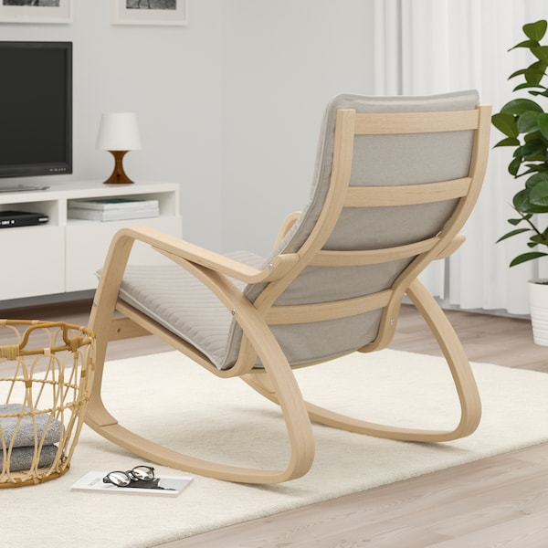 POÄNG rocking-chair white stained oak veneer/Knisa light beige 68 cm 94 cm 95 cm 56 cm 50 cm 45 cm