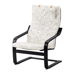 POÄNG armchair, black-brown, Vislanda black/white