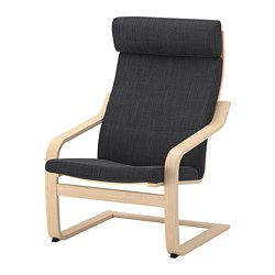 POÄNG armchair, white stained oak veneer, Hillared anthracite