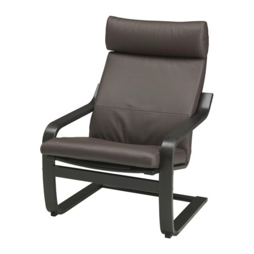 Po ng armchair glose dark brown black brown ikea - Fauteuil relax ikea cuir ...