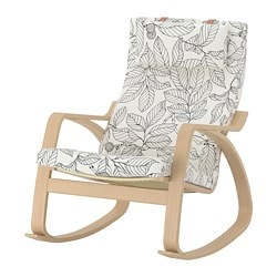 POÄNG rocking-chair, white stained oak veneer, Vislanda black/white