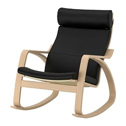 POÄNG rocking-chair, white stained oak veneer, Smidig black