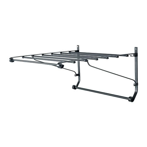 PORTIS Drying rack, wall IKEA Simple to fold down and secure in the built-in hooks when you're not using it.  Suitable for use in damp spaces.