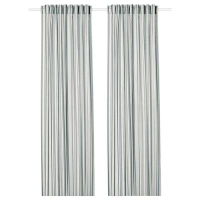PRAKTKLOCKA curtains, 1 pair grey/striped 250 cm 145 cm 0.89 kg 3.63 m² 2 pack