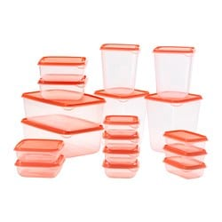 PRUTA food container, set of 17, transparent, orange