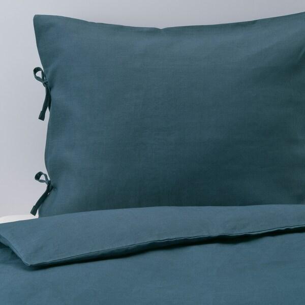 PUDERVIVA Duvet cover and pillowcase, dark blue, 150x200/50x80 cm