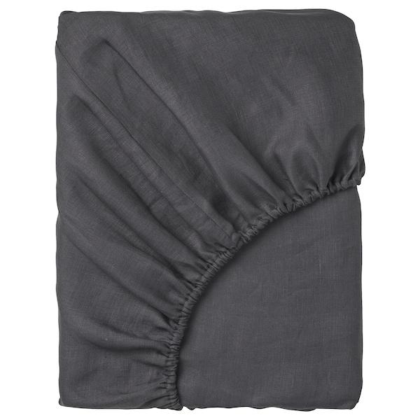 PUDERVIVA Fitted sheet, dark grey, Queen