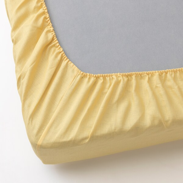 PUDERVIVA Fitted sheet, light yellow, King