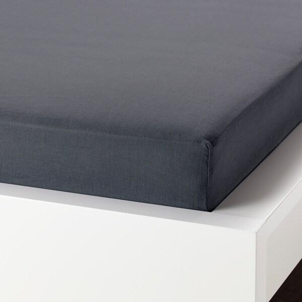 PUDERVIVA fitted sheet dark grey 104 /inch² 200 cm 140 cm 36 cm