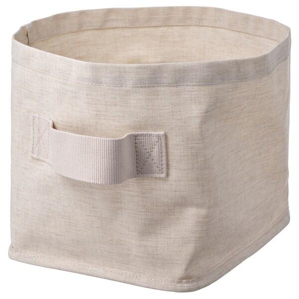 PURRPINGLA Storage basket, textile/beige, 25x20x20 cm
