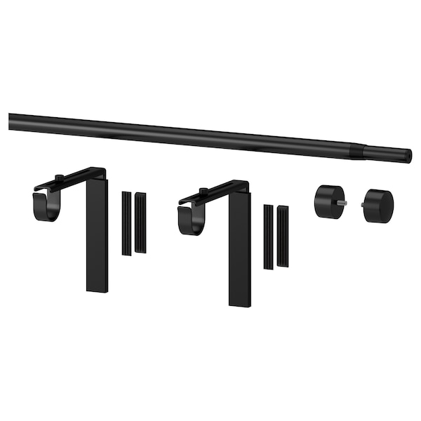 RÄCKA Curtain rod combination, black, 120-210 cm