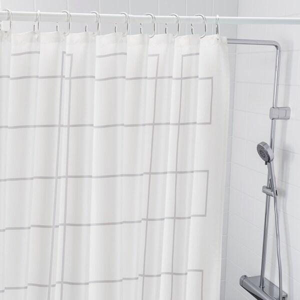 RÄLLSJÖN Shower curtain, white/grey, 180x200 cm