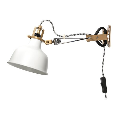 RANARP Wall/clamp spotlight IKEA The lamp has got double function - you can use it as a clamp spotlight or assemble it on the wall as a wall lamp.