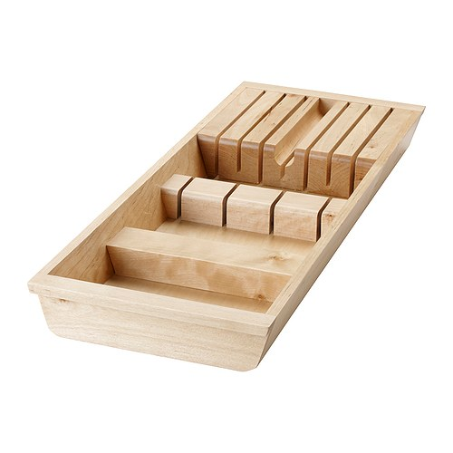 RATIONELL Knife tray IKEA To be placed in the drawer for easy to overview and access storage of knives.  Durable wooden surface; spares the knife-edge.