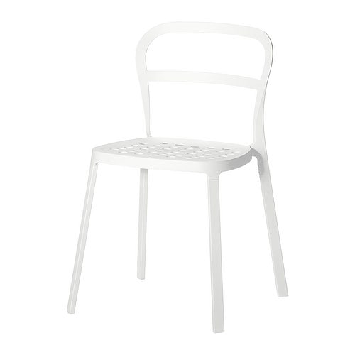 REIDAR Chair, in/outdoor IKEA Chair made entirely of aluminium, which can be outdoors all year round.  The holes in the seat drain rainwater off.