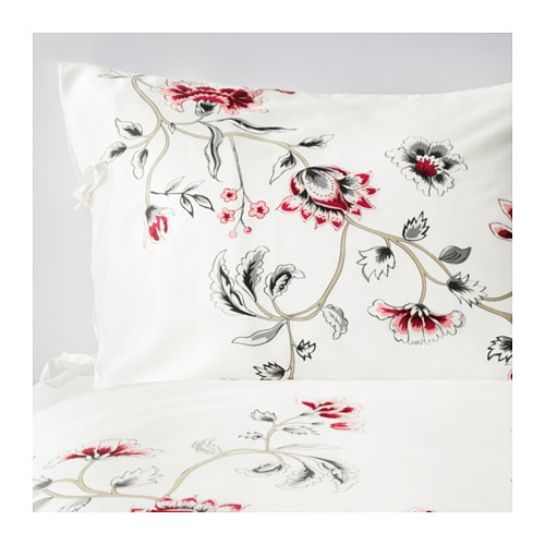RÖDBINKA Quilt cover and 2 pillowcases IKEA Sateen-woven bedlinen in lyocell has a pronounced lustre, feels soft as silk and is pleasant to sleep in.