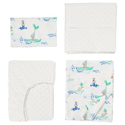 RÖDHAKE 4-piece bedlinen set for cot, sailing mouse, 70x132 cm