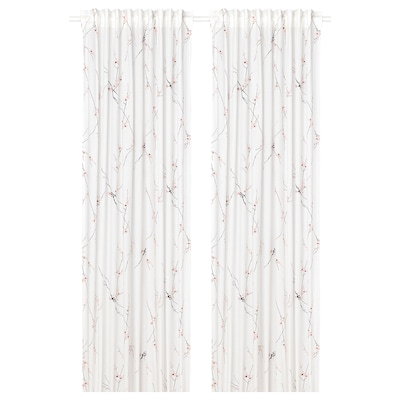 RÖDLÖNN Curtains, 1 pair, white/flower, 145x250 cm
