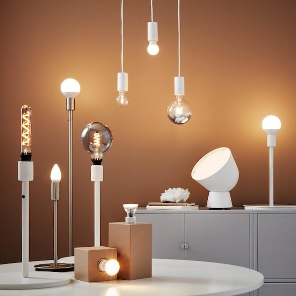 ROLLSBO LED bulb E27 200 lumen, dimmable/tube-shaped grey glass, 34 mm