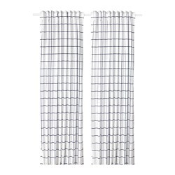 ROSALILL curtains, 1 pair, white/blue