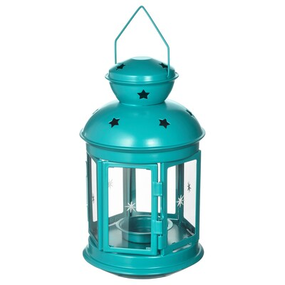 ROTERA Lantern for tealight, in/outdoor turquoise, 21 cm