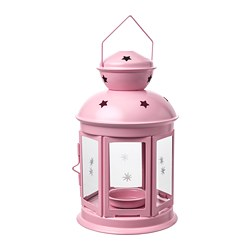 ROTERA lantern for tealight, in/outdoor, light pink