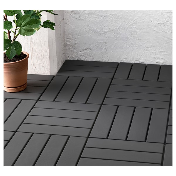 RUNNEN floor decking, outdoor dark grey 0.81 m² 30 cm 30 cm 2 cm 0.09 m² 9 pack