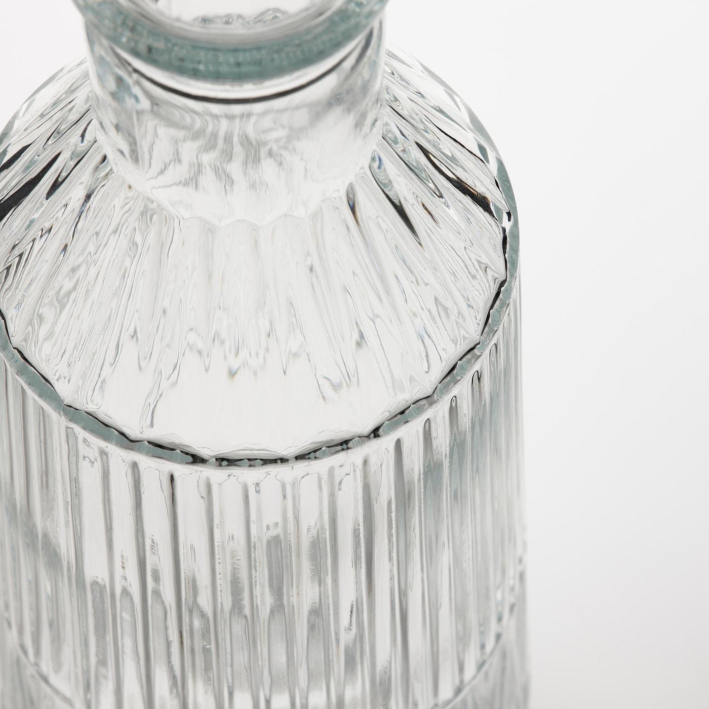 SÄLLSKAPLIG Carafe with stopper, clear glass/patterned, 1 l