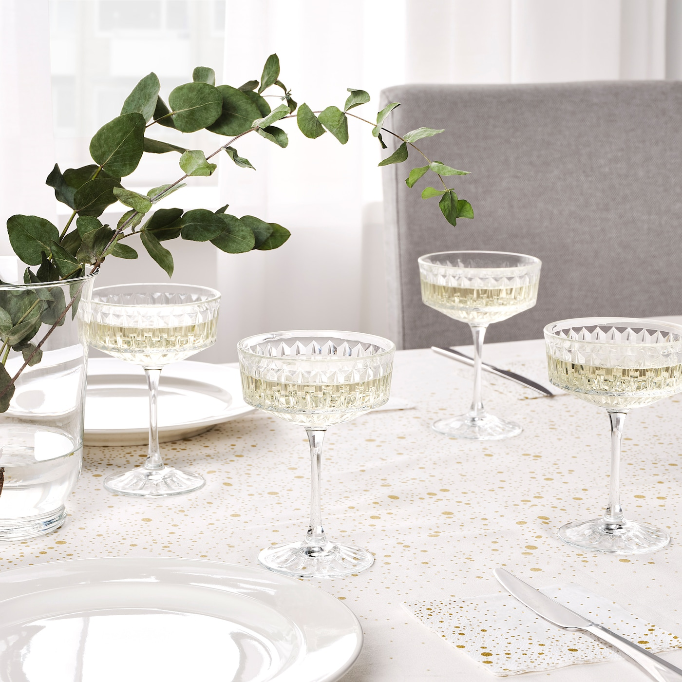 Sallskaplig Champagne Coupe Clear Glass Patterned 21 Cl Ikea
