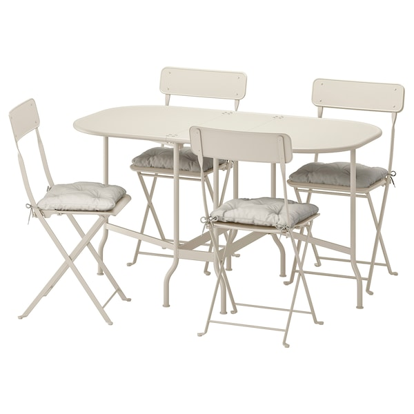 SALTHOLMEN Table+4 folding chairs, outdoor, beige/Kuddarna grey
