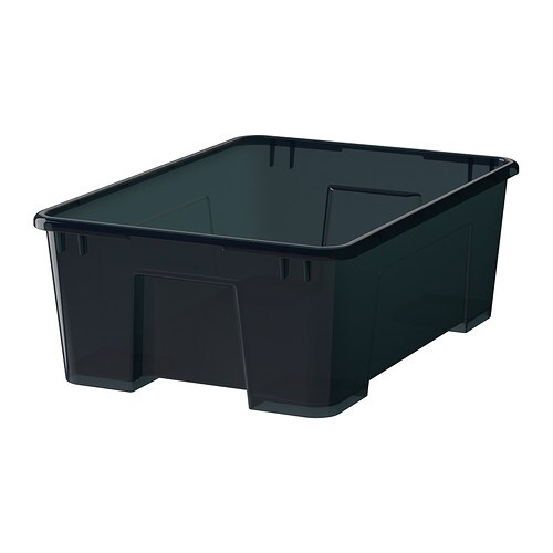 SAMLA Box IKEA This box is suitable for storing sports equipment, gardening tools or laundry accessories.