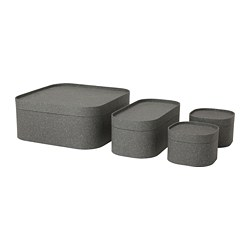 SAMMANHANG box with lid, set of 4, dark grey
