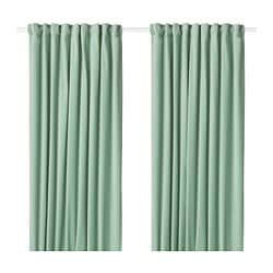 SANELA room darkening curtains, 1 pair, light green