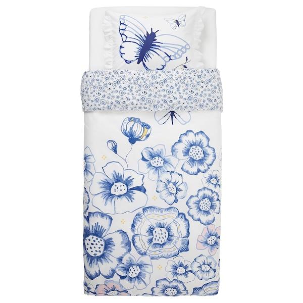 SÅNGLÄRKA Duvet cover and pillowcase, butterfly/white blue, 150x200/50x80 cm