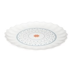 SANNING side plate, white, patterned