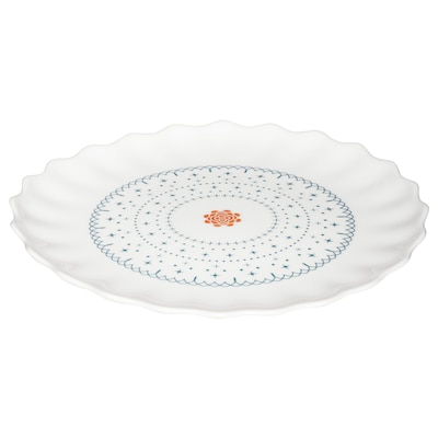 SANNING side plate white/patterned 19 cm