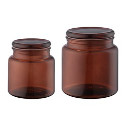 SEGERSJÖN jar with lid, set of 2, brown