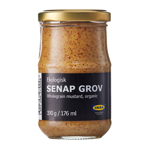 SENAP GROV Whole-grain mustard IKEA An all-round mustard, neither mild nor hot, with a nice balance between sweetness and acidity, adding flavour to e.