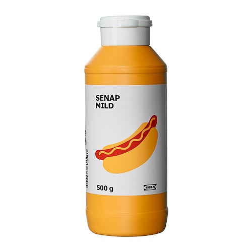 SENAP MILD Mild mustard IKEA Crushed mustard seeds, mainly mixed with vinegar, salt and sugar.